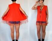 Vintage 80s Coral Long Fringe Duster Vest w/ Beads. Wild festival rocker Hippie boho Mini cotton retro neon dress Outerwear. Small - Medium