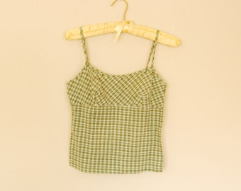 Green Plaid Cropped Top with Semi-Open Back - Early 90s