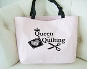 Quilting themed tote bag - quilting gift - queen of quilting tote bag - original design quilting bag -quilting tote - quilting craft bag