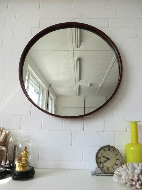 Vintage extra large round danish teak wall mirror mid century for Extra large round mirror
