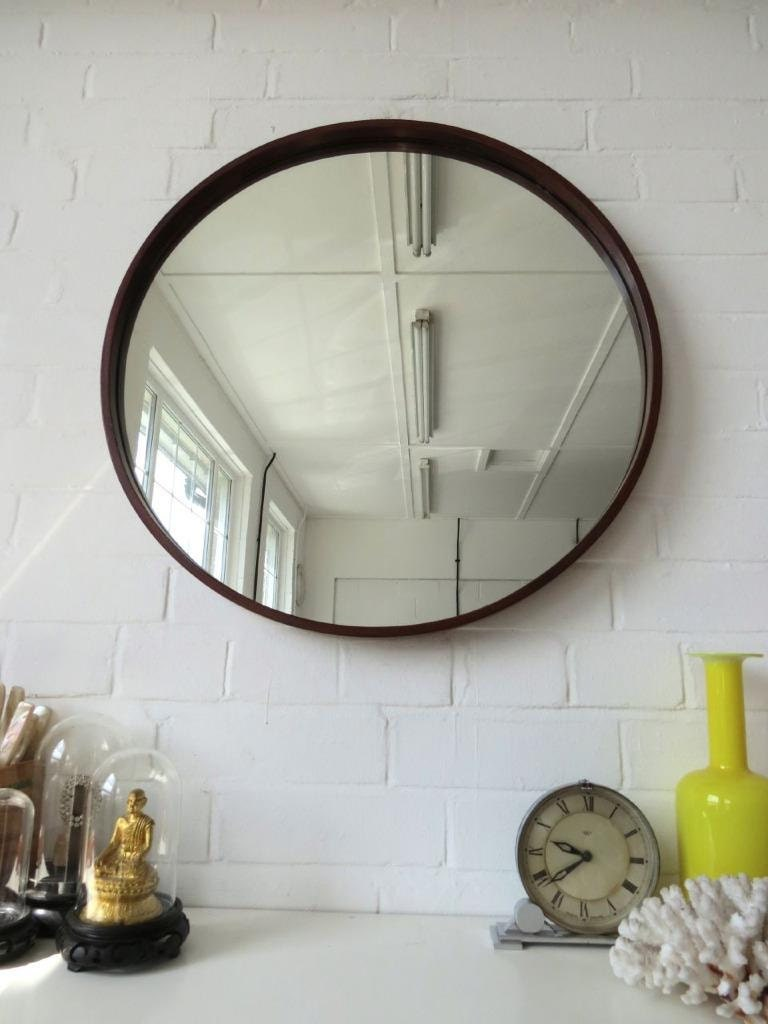 Vintage Extra Large Round Danish Teak Wall Mirror Mid Century