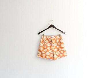 Orange Daisy 90s Denim Shorts