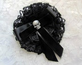 Skull Goth/Gothic Lolita Headpiece with lace, velvet and satin embellishments