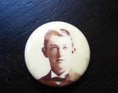 Hat Decor 1880s Celluloid Mourning Photo Pinback Button / Small Size / RARE / Boy / Male / Young Man / FREE shipping / Steampunk