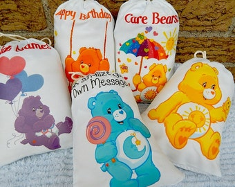 """Birthday all occastion Favor Bags Care bear's Group 1 for Treat's or gift's Can be personalized 5"""" X 7"""" or 6"""" X 8"""" Qty 5"""
