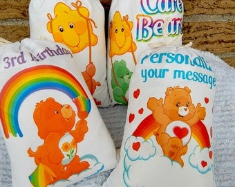 """Birthday all occastion Favor Bags Care bear's Group 2 for Treat's or gift's Can be personalized 5"""" X 7"""" or 6"""" X 8"""" Qty 4"""
