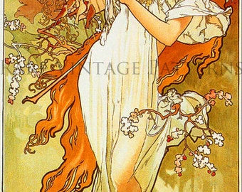 SPRING - Vintage ALPHONSE MUCHA Four Seasons Series Illustration A4 300 dpi Jpg Printable Digital Image Instant Download