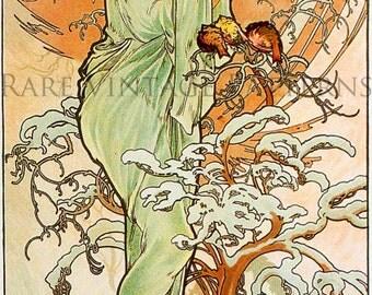 WINTER - Vintage ALPHONSE MUCHA Four Seasons Series Illustration A4 300 dpi Jpg Printable Digital Image Instant Download