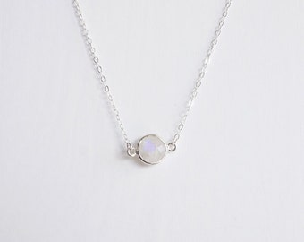 Round moonstone sterling silver necklace . ice crystal gemstone pendant necklace . Jewellery Australia