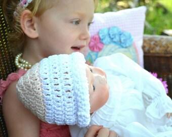 Peaches & Cream Crochet Baby Hat Handmade Two Tone Crocheted Newborn Girl Infant Beanie 100% Cotton Sleeper Breastfeeding Nursing Night Cap