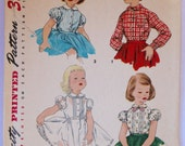 Vintage Sewing Pattern- 1950s Girls Blouse and Petticoat-Blouse  Size 6 Simplicity 1287