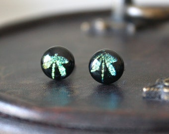Green Dargonfly Earring Posts - Green Sparkling Dichroic Glass Dragonfly Ear Studs, Hypoallergenic Jewellery, Surgical Steel Ear Posts