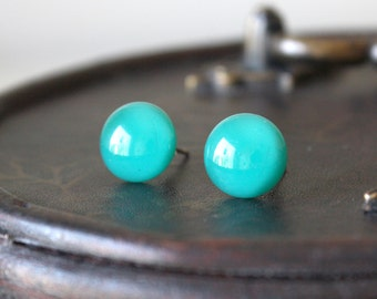 Green Island Earring Posts - Turquoise Aqua Green Fused Glass Ear Studs, Surgical Steel Hypoallergenic Jewellery Handmade by Ikuri
