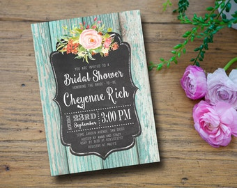 Rustic Bridal Shower Invitation Wedding Shower Chalkboard Watercolor Flowers Baby Shower Invitations Printable - Cheyenne