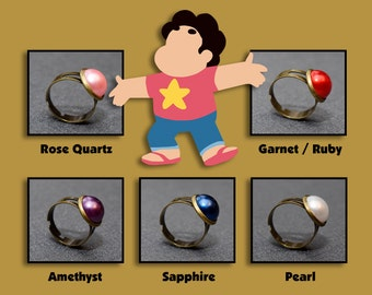 Steven Universe ring – The Crystal Gems jewelry / jewellery – Rose Quartz – Garnet – Amethyst – Pearl – Ruby – Sapphire