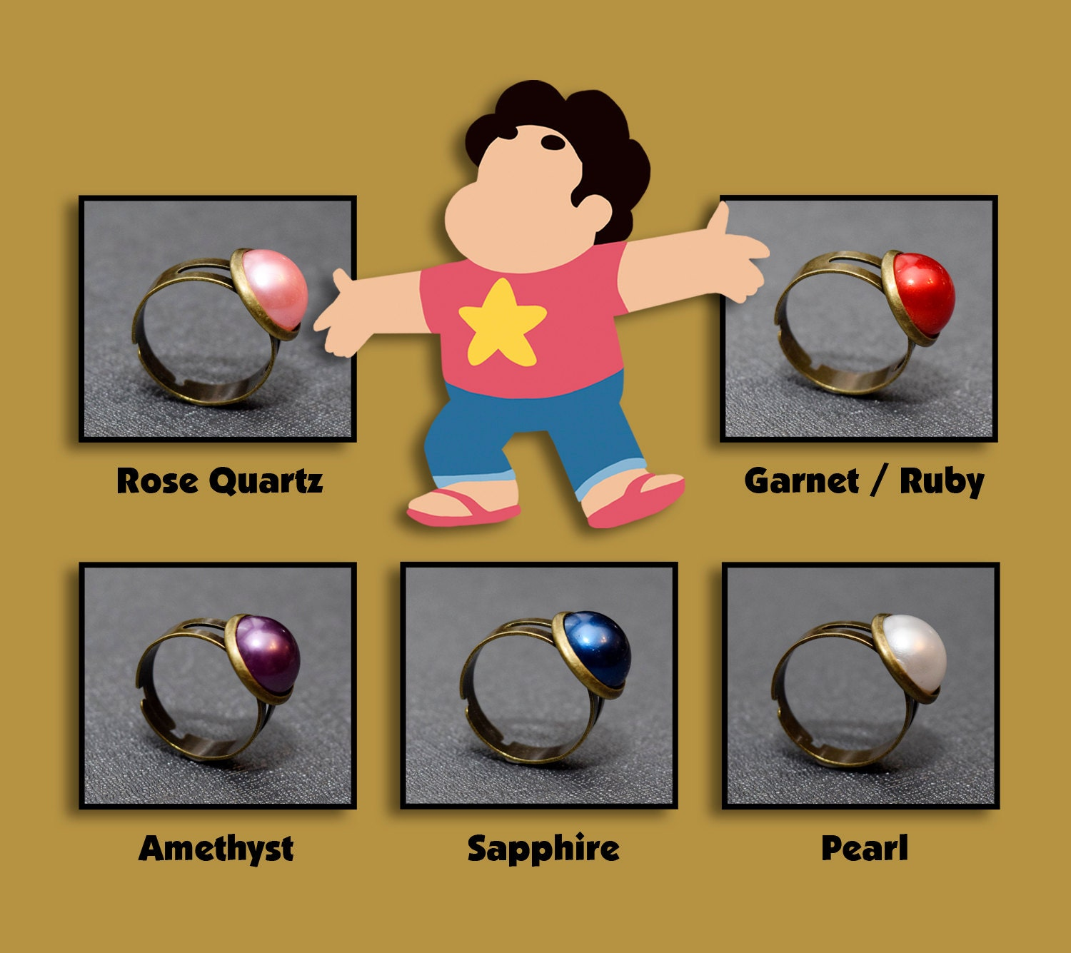 Steven Universe ring The Crystal Gems jewelry jewellery