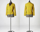 1960s bright citrus coloured plaid button up jacket, quality vintage woven cotton handmade top in bright green, yellow and orange