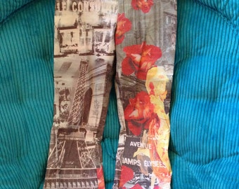Parisian Printed Pants by Atrévete Hand Sewn Yellow Red Grey Eiffel Tower Champs-Elysees Naked Ladies Very Fun Design Medium
