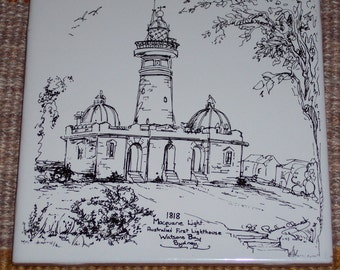 Macquarie Lighthouse art tile,Australia's first lighthouse,decorative trivet,accent,coaster,black and white