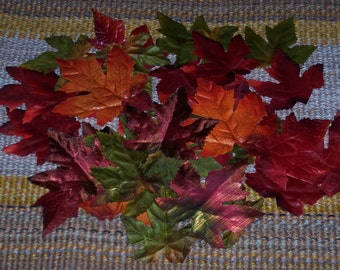 Red Maple leaves,Fall red & green color mix w shiny and lightly glittered accent leaves,50/pkg,silk,leaves appx 2.5 inch and 3 inch