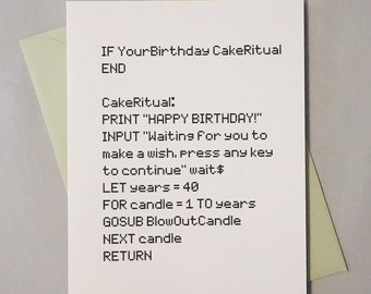 Geeky Birthday Card, Age Specific / BASIC Computer Programming Language / Happy Birthday / BASICally Awesome / Birthday Card for Programmer