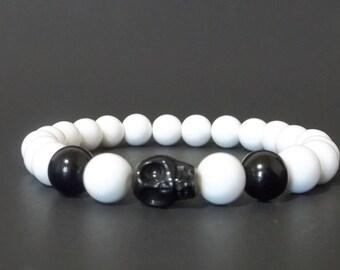 Men's Bracelet White Bead Bracelet Men's Stretch Bracelet Black Skull White Acrylic Bead Stretch Bracelet  Skull Bracelet Gift Him CLEARANCE