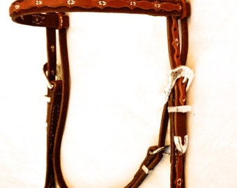 Handmade Western Horse Browband Headstall Bridle with Scallop Overlay, Silver Accents