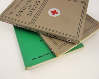 Red Cross Booklets From 1960s and 1970s - Soft Cover Booklets - 'Swimming and Diving', 'Life Saving and Water Safety', 'First Aid' Fourth Ed