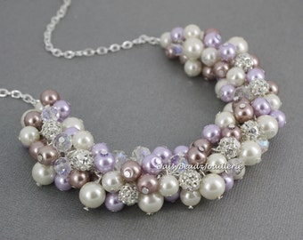 Wedding Necklace, Pearl Cluster Necklace, Purple and Taupe Necklace, Bridesmaids Gift, Pearl Necklace, Vintage Style