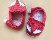 Crochet Pattern Fox Baby Booties Fox Preemie Socks Fox Applique Foxy Baby Slippers Crochet Pattern Foxy Baby Shoes (FB04-O-PAT)