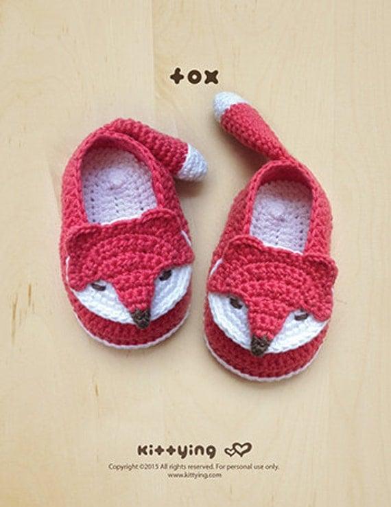 Fox baby booties crochet pattern