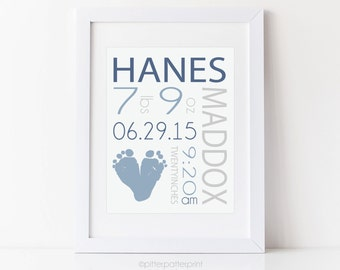 Baby Boy Birth Announcement Wall Art Print, Footprint Nursery Decor, Personalized with Your Child's Footprints, 8x10 inches UNFRAMED