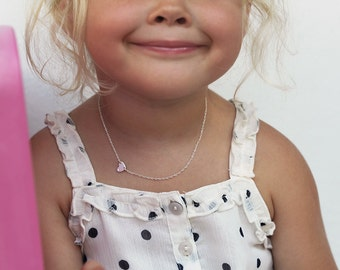 Child Necklace, Kid Necklace, Baby Necklace, Girl Necklace, Sideways Heart Necklace With Tiny Crystal