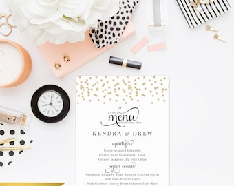 Glitter Menu - Wedding or Rehearsal Dinner Menu - Printable File - 5x7