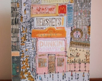 DUNKIN DONUTS NYC, New York Times Square Canvas Wall Decor, Art Print from Mixed media Painting by Clare Caulfield, Starbucks Art , Hersheys