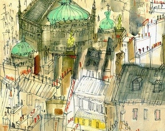 PARIS ROOFTOP PRINT, Opera Garnier, Parisian Buildings, Signed Wall Art, French Watercolor City Painting, Opera House Paris, Clare Caulfield