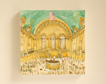 GRAND CENTRAL Nyc, New York Canvas, Central Terminal Print, New York Wall Art, Watercolour Painting, Train Station NY, City Architecture