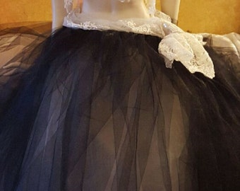 Custom Order/Ivory Beaded Lace 4Pc Strapless Bandeau Crop Top Black Tulle Ball Gown Skirt Bridal Wedding Set Boho Belly Dance (more colors)