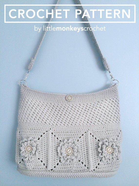 Crochet Bucket Bag Pattern : Purse Crochet Pattern, Crochet Shoulder Bag Pattern (The Wildflower ...
