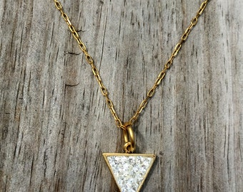 Diamond Druzy Triangle Pendant - Cluster Necklace - Triangle Bohemian Jewelry - Personalized Jewelry - Gift for Her - Bridesmaid Gift