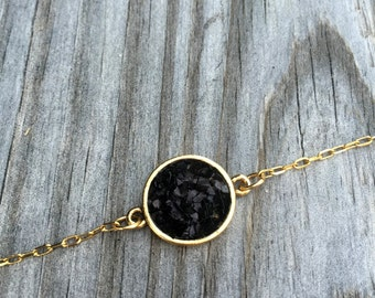 Black Druzy Cluster Necklace - Black Druzy Jewelry - Personalized Jewelry - Gift for Her - Bridesmaid Gift - Everyday Jewelry - Layering