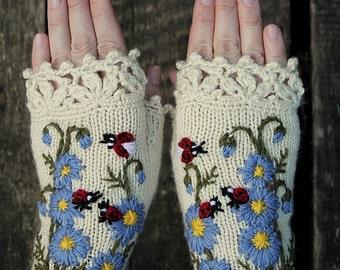 Knitted Fingerless Gloves, Ladybird, Gloves & Mittens, Gift Ideas, For Her, Winter Accessories, Accessories