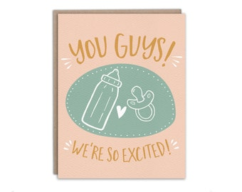 You Guys! We're So Excited! // Congratulations Pregnancy Card, Congratulations New Baby Card