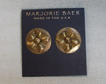 Marjorie Baer Geometric Brass Post Earrings  1504