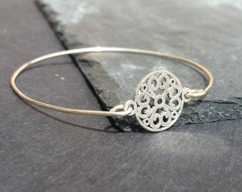 Sterling Silver Filigree Bangle Bracelet, Sterling Silver Bracelet, Silver Bangle Bracelet, Silver Stacking Bangle, Wedding Jewelry