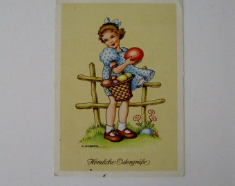 Easter Artist Signed Post Card - G Lamberts - Easter Greetings - Used - 1911