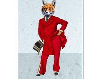 Fox Gentleman, Animal painting portrait painting  Giclee Print Acrylic fox Painting fox Print fox art, fox painting, decor fox illustration