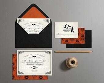Halloween Wedding Invitations, Printable Halloween Wedding Invites, Off Beat Bride Wedding Invites (Vintage)