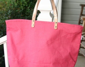 Jute Tote Bag Hot Pink