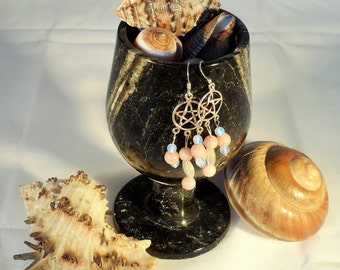 Pink Opal, Moonstone and Opalite Moonstone Earrings (GE 0009)